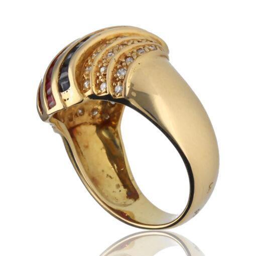 """Anillo """"Kicei"""" oro 1ª ley 18K con diamantes,zafiros y rubis"""