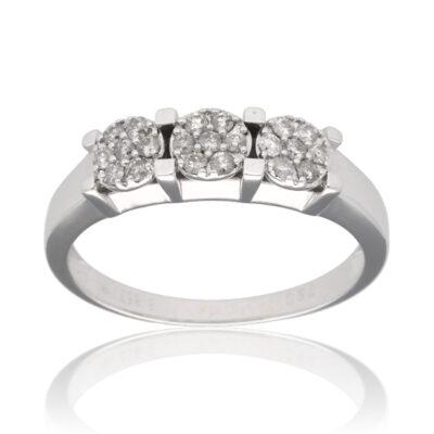 """Anillo """"Eicei"""" oro blanco 1ª ley 18K con diamantes"""