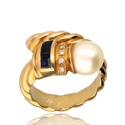 """Anillo """"Raso"""" oro 1ª ley 18K con diamantes,zafiros y perla cultivada"""