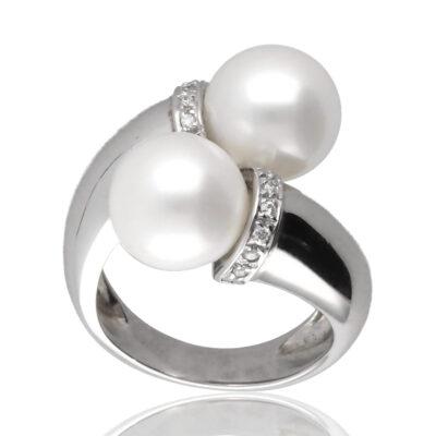 """Anillo """"Aelura"""" oro blanco 1ª ley 18K con diamantes y perlas cultivadas"""