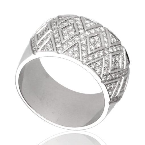 """Anillo """"Yaleic"""" oro blanco 1ª ley 18K con diamantes"""