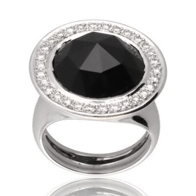 """Anillo """"Paeble"""" oro blanco 1ª ley 18K con diamantes y onix"""