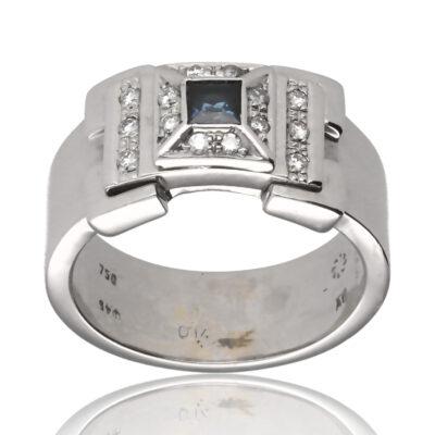 "Anillo ""Oare"" oro blanco 1ª ley 18K con diamantes y zafiro"