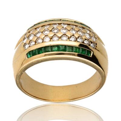 """Anillo """"Durra"""" oro 1ª ley 18K con diamantes y esmeraldas"""