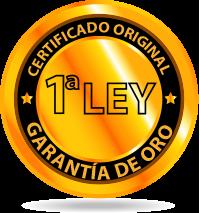 Certificado original de Garantía de oro