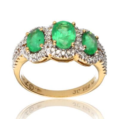 """Anillo """"Cielo"""" oro 1ª ley 18K con diamantes y esmeraldas"""