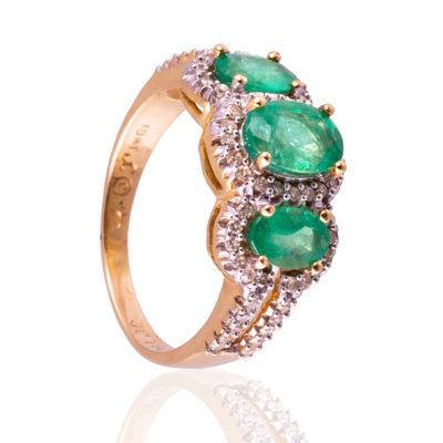 Anillo con diamantes y esmeraldas en oro 18kt de primera ley