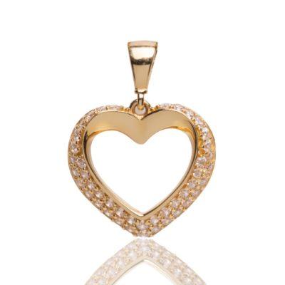 Corazón de oro de 18kt de primera ley con circonitas