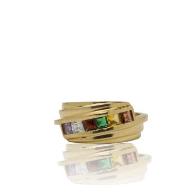 Anillo en oro 18kt de priera ley con circonitas de color