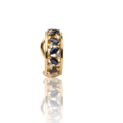 Pendientes oro 18kt de primera ley con diamantes y zafiros y cierre omega