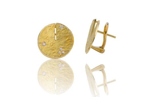 Pendientes oro 18kt de primera ley con diamantes y cierre omega