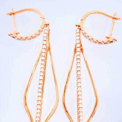 Pendientes en oro rosa de 18kt de primera ley con diamantes de ocasión