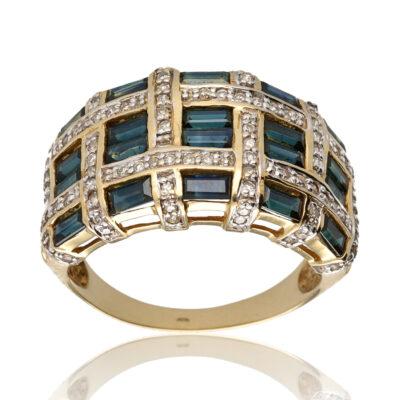 "Anillo ""Udia"" oro 1ª ley 18K con diamantes y zafiros"