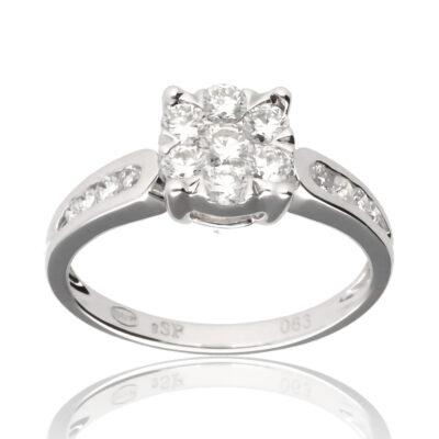 """Anillo """"Risaus"""" oro blanco 1ª ley 18K con diamantes"""