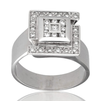 "Anillo ""Evadari"" oro blanco 1ª ley 18K con diamantes"