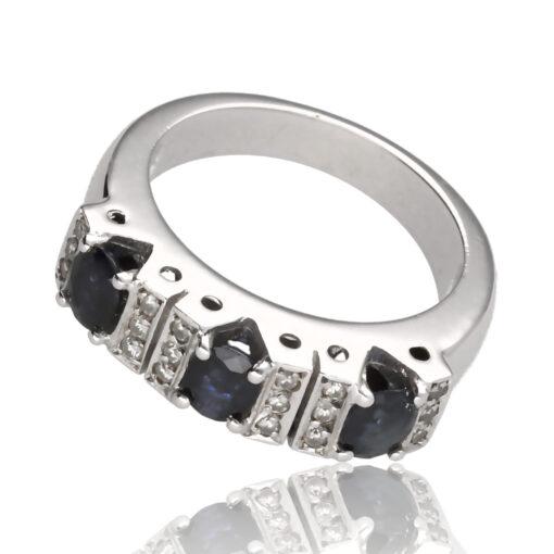 """Anillo """"Marinon"""" oro blanco 1ª ley 18K con diamantes y zafiros"""