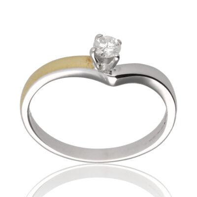 """Anillo """"Elocaro"""" oro blanco 1ª ley 18K con diamante"""