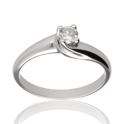 "Anillo ""Kunu"" oro blanco 1ª ley 18K con diamante"