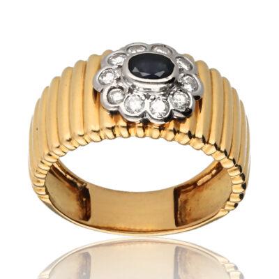 """Anillo """"Cutair"""" oro 1ª ley 18K con diamantes y zafiro"""