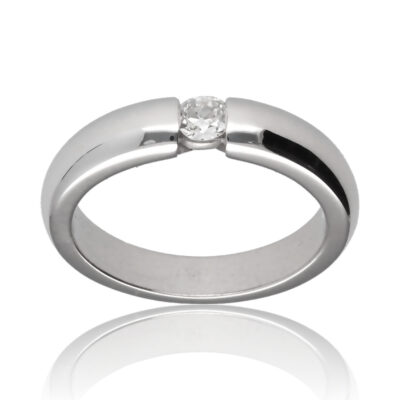 "Anillo ""Ofru"" oro blanco 1ª ley 18K con diamante"