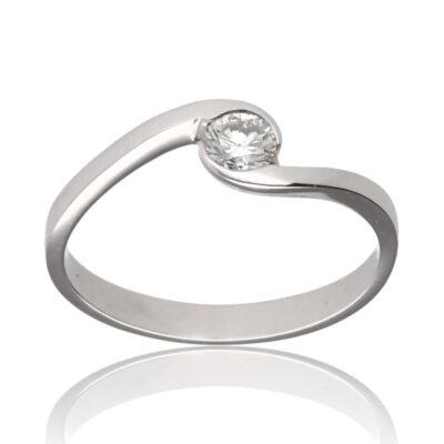 "Anillo ""Aumeri"" oro blanco 1ª ley 18K con diamante"