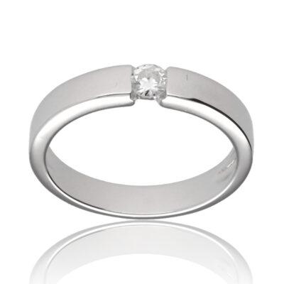 """Anillo """"Zeila"""" oro blanco 1ª ley 18K con diamante"""