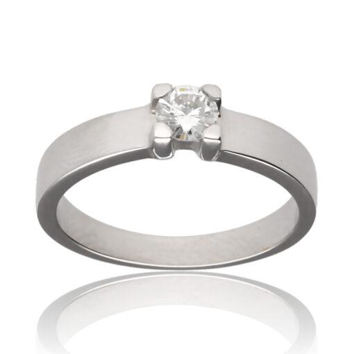 """Anillo """"Irarnan"""" oro blanco 1ª ley 18K con diamante"""