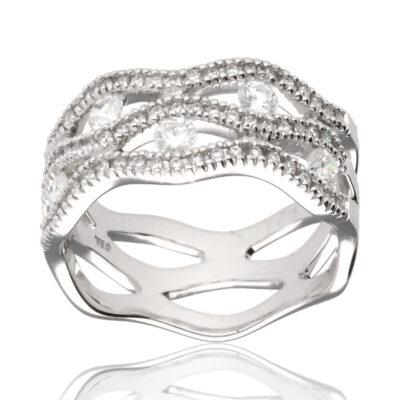 """Anillo """"Binua"""" oro blanco 1ª ley 18K con diamantes"""