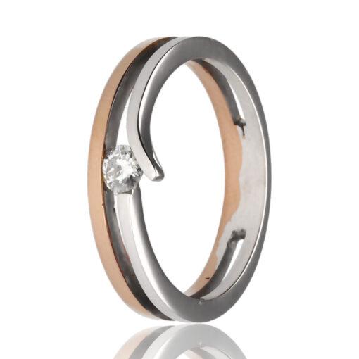 """Anillo """"Enyar"""" oro 1ª ley 18K con diamante"""
