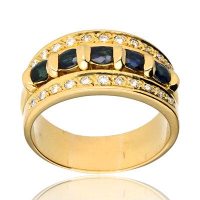 "Anillo ""Clerris"" oro 1ª ley 18K con diamantes y zafiros"