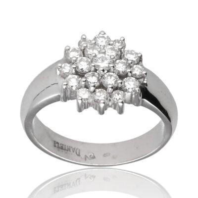 "Anillo ""Sebrea"" oro blanco 1ª ley 18K con diamantes"