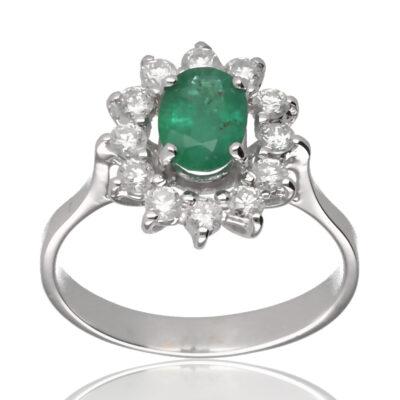 """Anillo """"Vonia"""" oro blanco 1ª ley 18K con diamantes y esmeralda"""