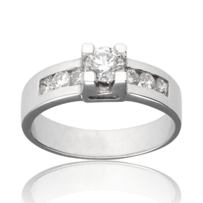 """Anillo """"Ferran"""" oro blanco 1ª ley 18K con diamantes"""