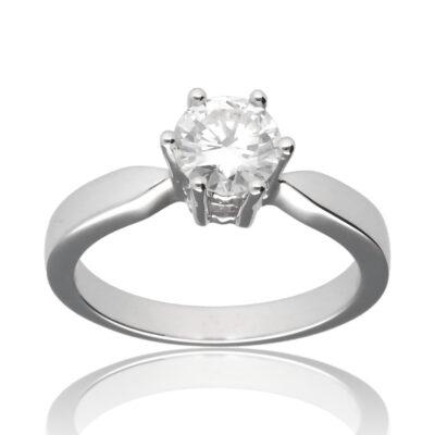 """Anillo """"Ciram"""" oro blanco 1ª ley 18K con diamante"""