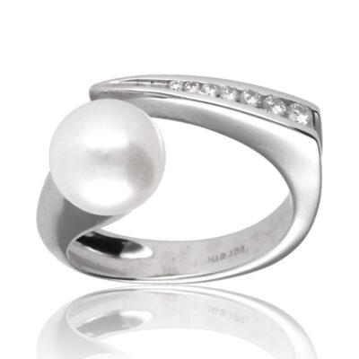 """Anillo """"Iradella"""" oro blanco 1ª ley 18K con diamantes y perla cultivada"""