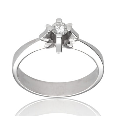"Anillo ""Larau"" oro blanco 1ª ley 18K con diamante"