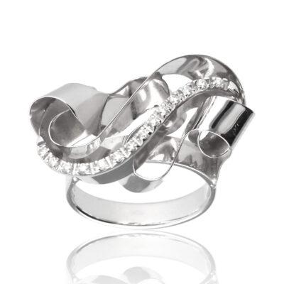 """Anillo """"Lune"""" oro blanco 1ª ley 18K con diamantes"""