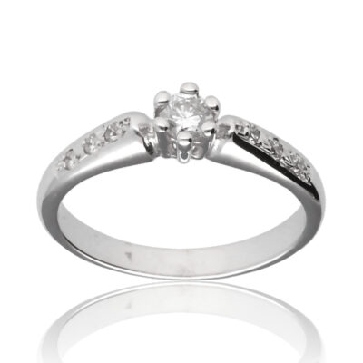 "Anillo ""Aujane"" oro blanco 1ª ley 18K con diamantes"