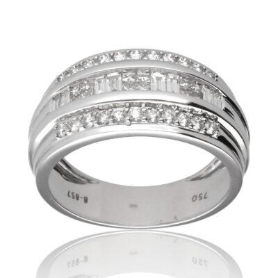 "Anillo ""Oatri"" oro blanco 1ª ley 18K con diamantes"