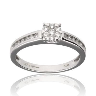 """Anillo """"Ainis"""" oro blanco 1ª ley 18K con diamantes"""